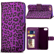 iPhone 7 Case,ARSUE Premium [Card Slot] PU Leather Wallet Cases Slim Folio Book Design with [Kickstand Feature] Magnetic Closure Flip Protective Cover Case for iPhone 7 - Purple Leopard