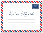 24 Red White Blue Striped Border Fill-In Moving Announcements