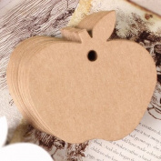 G2PLUS Apple Shaped Christmas Gift Tags, 100 PCS Kraft Paper Favour Tags with 30m Natural Jute Twine String