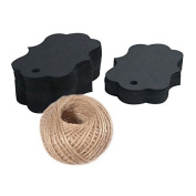 G2PLUS 100 PCS Black Paper Gift Tags with String, 7cm x 5cm Kraft Hang Tags with 30m Jute Twine