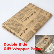 Marya 5 PCS Wrapping Paper Vintage Newspaper Gift Package Double Sided Christmas Kraft Paper