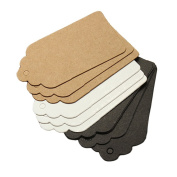 7X4cm 100 Pcs Kraft Paper Card Tag Scallop Party Wedding Favour Gift Tag Blank Price Lable Tag Name Card Tag