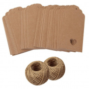 Hollow Heart Kraft Paper Gift Tags 200PCS Tags Labels with Free 60m Natural Jute Twine Brown