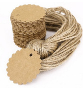 KAMSOL 100pcs 2.60cm Kraft Paper Gift Tags Wedding Christmas Holiday Tags with 30m Twine Brown