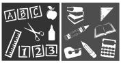 Auto Vynamics - STENCIL-TEACHERSET01-10 - Detailed Teacher / Classroom Supplies Stencil Set - Including Letter / Number Blocks, Books, & More! - 25cm by 25cm Sheet - (2) Piece Kit - Pair of Sheets