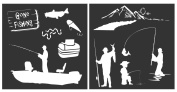 """Auto Vynamics - STENCIL-FISHINGSET01-10 - Detailed """"Gone Fishing"""" Fisherman Stencil Set - Featuring Several Anglers, Bait, Lure, & More! - 25cm by 25cm Sheet - (2) Piece Kit - Pair of Sheets"""