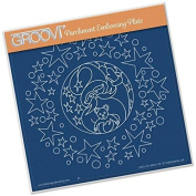 Groovi Embossing Plate Laser Etched Acrylic for Parchment Craft ~ Santa & Stars A5 Square Plate,