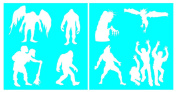 Auto Vynamics - STENCIL-MONSTERSET01-20 - Detailed Monsters & Creatures Stencil Set - Including Trolls, Werewolves, Zombies, & More! - 50cm by 50cm Sheet - (2) Piece Kit - Pair of Sheets