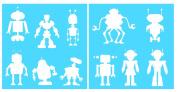 Auto Vynamics - STENCIL-ROBOTSET01-20 - Detailed Classic Futuristic Robots Stencil Set - Featuring Multiple Robots - Various Shapes & Styles! - 50cm by 50cm Sheet - (2) Piece Kit - Pair of Sheets