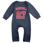 Hotboy19 Babys Chicago #27 Baseball Addislam Player Onesies Long Sleeve Navy