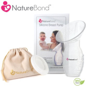 Silicone Breastfeeding Manual Breast Pump Milk Suction | Full Set with Cover Lid, Velvet Pouch in Gift Box Style - BPA Free & 100% Food Grade Silicone. Designed in USA.