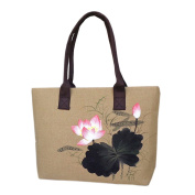 May Lucky Womens Handbag Hand Painted Lotus Shoulder Bag Casual Bag
