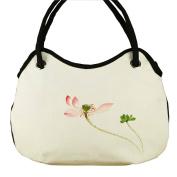 May Lucky Womens Lotus Handbag Hand Painted Chinese Style Shoulder Bag