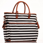 Nappy bag Purse By Luliey - Baby Changing pad - STYLISH & SPACIOUS! Tote - Fashion Black & White Lines Design With Tan Trim
