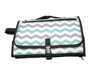 Baby Steps - The Best Portable Nappy Change Pad & Compact Nappies Bag -Travel Pronto Changing Station Mat – Chevron Green - Perfect Baby Shower Gift or Present For Mom of Newborn Boys or Girls