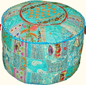Rastogi handicrafts Patchwork Ottoman Pouffe , Foot Stool,Indian Living Room Pouffe, Round Ottoman Cover Pouffe, Floor Pillow Ottoman Poof,Traditional Indian Home Decor Cotton Cushion Ottoman Cover