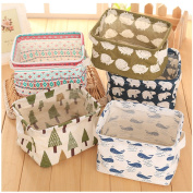 Fieans Household Desktop Cotton Linen with handle Sundry Cloth Cosmetic Storage Basket Box Case Organiser Set of 5pcs