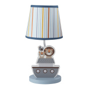 Bedtime Originals Two By Two Noah's Ark Lamp with Shade & Bulb, Blue/Grey