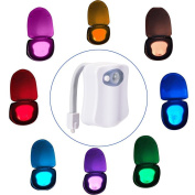 Toilet Night Light, LED Activated Toilet Nightlight 8 Colours Changing Motion Sensor Seat Bathroom Lamp for Any Toilet Battery-Operated Bowl Light (Only Activates in Darkness)