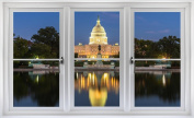 60cm Window Landscape Scene Instant City View CAPITOL BUILDING D.C. at DUSK #1 WHITE CLOSED Wall Sticker Room Decal Home Office Art Décor Den Mural Man Cave Graphic SMALL