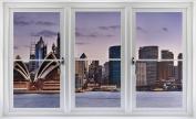 60cm Window Landscape Scene Instant City View SYDNEY AUSTRALIA SKYLINE DUSK #1 WHITE CLOSED Wall Sticker Room Decal Home Office Art Décor Den Mural Man Cave Graphic SMALL