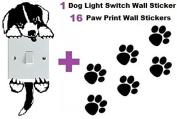1 Light Switch Decal + 16 FREE Paw Print Vinyl Wall Stickers, Car Nursery Laptop Window - USA Shipping - DOG
