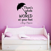 Mary Poppins Wall Decal Quote Vinyl Sticker Decals Quotes There Is Whole World At Your Feet Wall Decal Quote Wall Decor Nursery Bedroom Baby Room ZX235 (n)