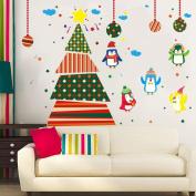 OVERMAL Christmas Tree Penguins Wall Stickers Window Glass Door Decoration Wall Sticker