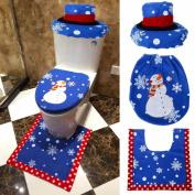 OVERMAL 3PCS Fancy Santa Toilet Seat Cover and Rug Bathroom Set Christmas Decor