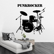 Drum Kit Set Acoustic Music Decor Vinyl Wall Sticker Bedroom Drums Drummer Wall Art decor