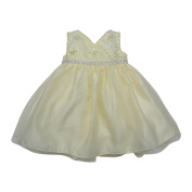 Baby Girls Champagne Beaded Floral Embroidered Flower Girl Dress 6-24M
