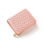 HeySun Ladies Woven Small Trifold Wallet Card Holder with Eversible Coin Pocket