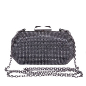 Hflove Womens Black Rhinestone Clutch Bag Ladies Evening Bag Bride Shoulder Bag with Chain
