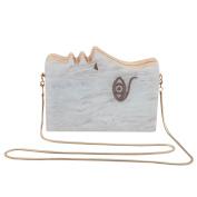 Flada Women's Face Acrylic Wood Evening Handbag Clutch Purse Shoulder Bags with Chain