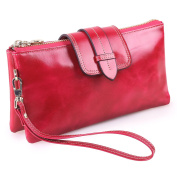 KorMei Women's Leather Clutch Wallet Chequebook Small Shoulder Bag Wristlet With Chain