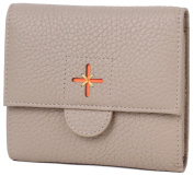 Borgasets Women's Leather Small Wallet Trifold Purse With ID Credit Card Holder