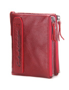 Contacts Mens Genuine Leather Bifold Wallet Double Zipper Pocket Wallet Coin Purse Red