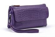 KorMei Women's Large Capacity Leather Smartphone Wristlet Clutch with Shoulder Strap