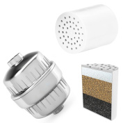 DSIKER Universal High Output Shower Filter with Replaceable 3 Stage Cartridge. Removes Chlorine, Quick, Water Softener, Perfect for Skincare, The Best Luxury Water Filter System - Chrome