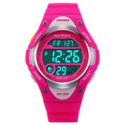 BesWLZ Sports Kids LED Digital Alarm Stopwatch Waterproof Wristwatch Children's Dress Watches Pink
