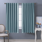 Blackout Curtain Panels Thermal Insulated - PONYDANCE Room Darkening Back Tab & Rod Pocket Solid Soft Blackout Curtains / Drapes for Living Room, Width 130cm by Length 160cm , 2 Pcs, Teal
