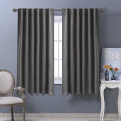 Blackout Curtains Panels Thermal Insulated - PONYDANCE Window Treatments Back Tab & Rod Pocket Solid Soft Blackout Curtain for Bedroom & Livingroom, W 130cm by D 160cm , 2 Pieces, Grey