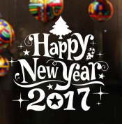 ❉❉❉ Vovotrade Happy New Year 2017 Merry Christmas Tree Wall Sticker Home Shop Windows Decals Decor 15.3*36cm