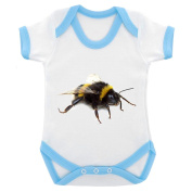 BumbleBee Image Baby Bodysuit White with Blue Trim