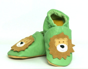 Three Little Imps Handmade Soft Leather Toddler Shoes - Roaring Lion on Pale Green 6 - 12m