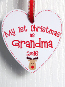 My First Christmas as Grandma Reindeer Heart Plaque Gift - New Grandmother 1st Xmas Tree Decoration Handmade in the UK