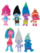 "COMPLETE SET 7 Different PLUSHIES 30cm 12"" TROLLS Movie - ORIGINAL Dreamworks"
