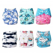 Signstek 6 pcs Pack Washable Baby Pocket Cloth Nappies with Reusable Inner Layer and Adjustable Size