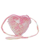 M & Co Girls Pretty Sequin Finish Love Heart Shape Cross Body Party Bag