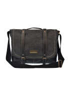 Douguyan Mens Vintage Canvas Leather Cross Body Messenger Bag For Daily Work People Up To 40cm Laptop-261 Black